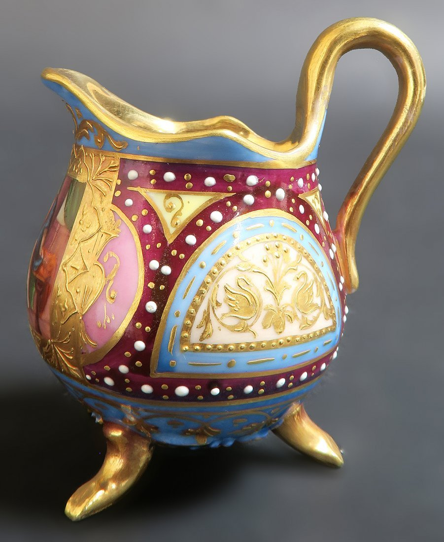 19th C. Hand Painted Royal Vienna Tea Set. Museum quali - 7