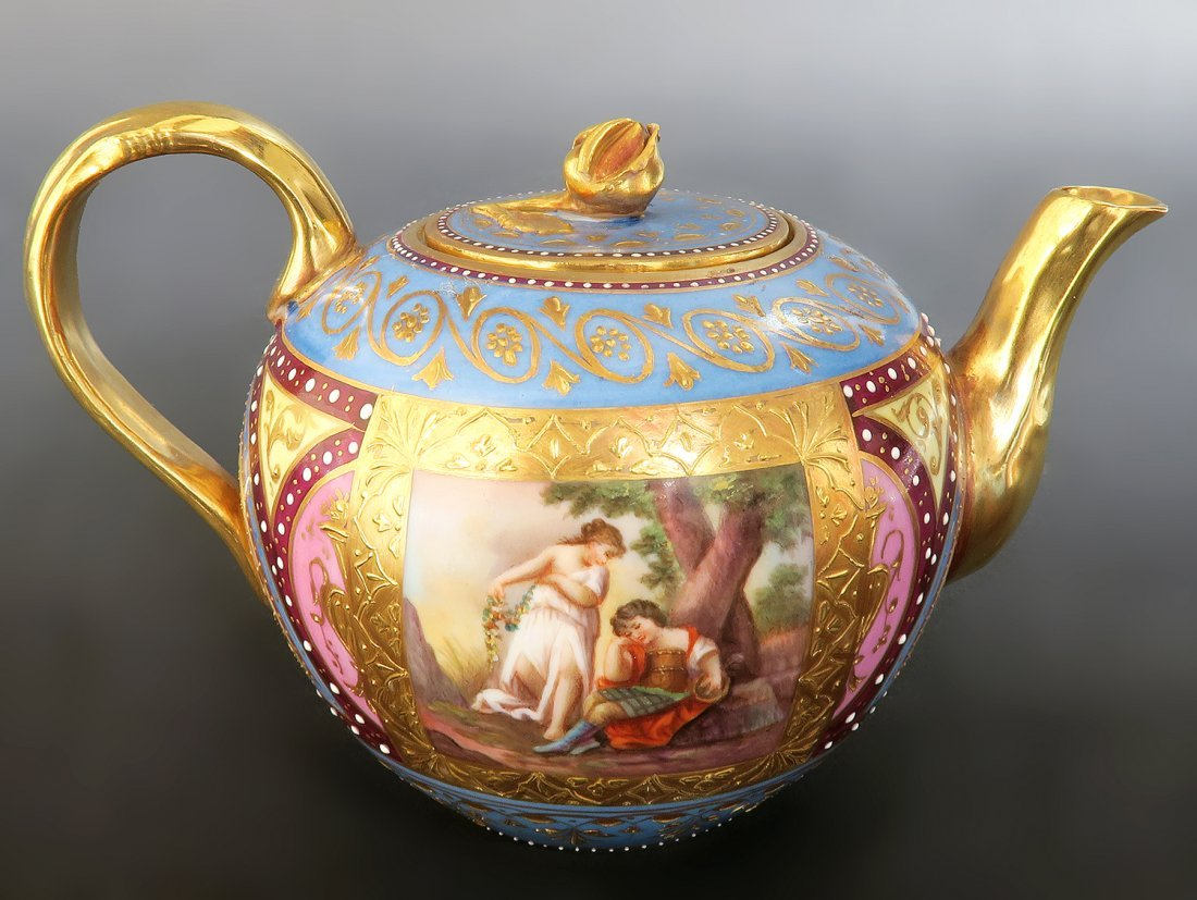 19th C. Hand Painted Royal Vienna Tea Set. Museum quali - 9