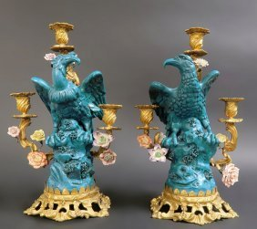19th C. French Pair of Bronze & Sevres Candelabras