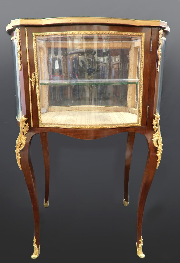 19th C. French Bronze Mounted Vitrine Cabinet / Showcas