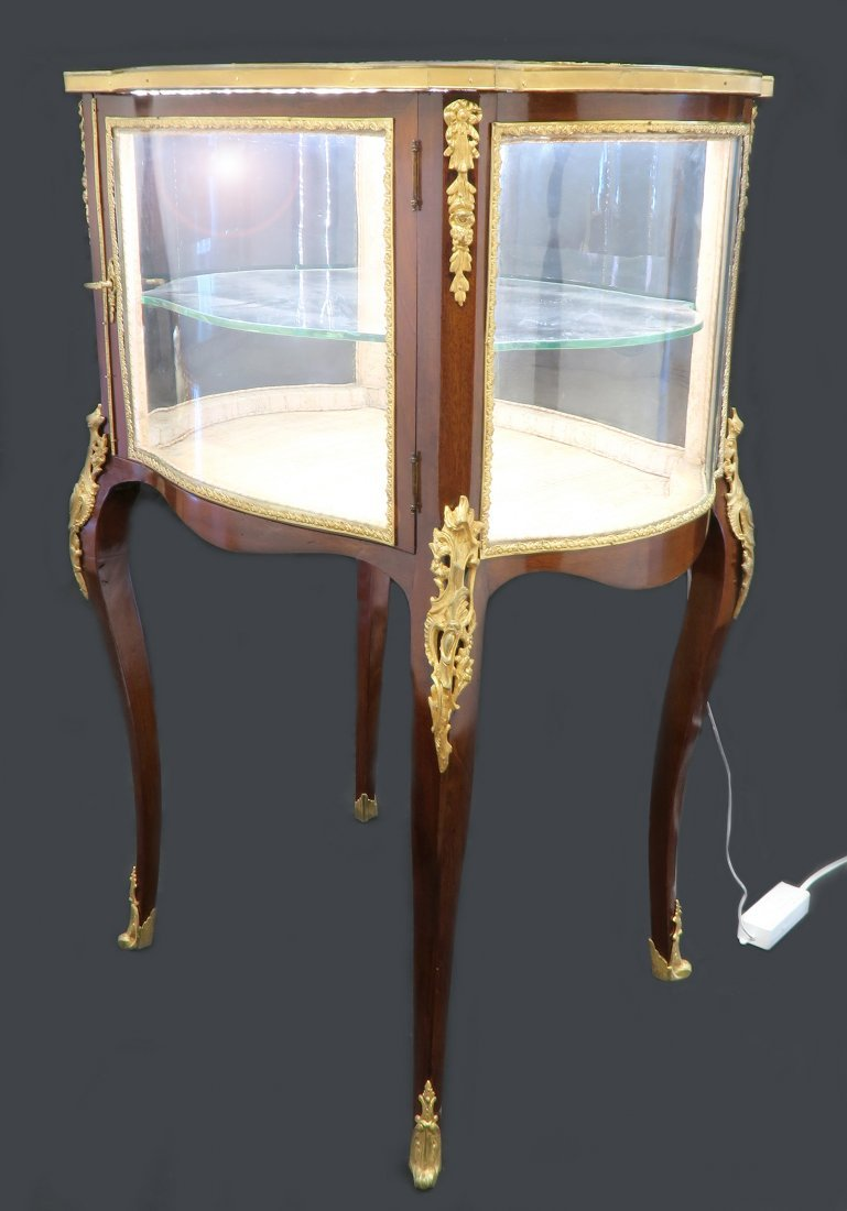 19th C. French Bronze Mounted Vitrine Cabinet / Showcas - 4