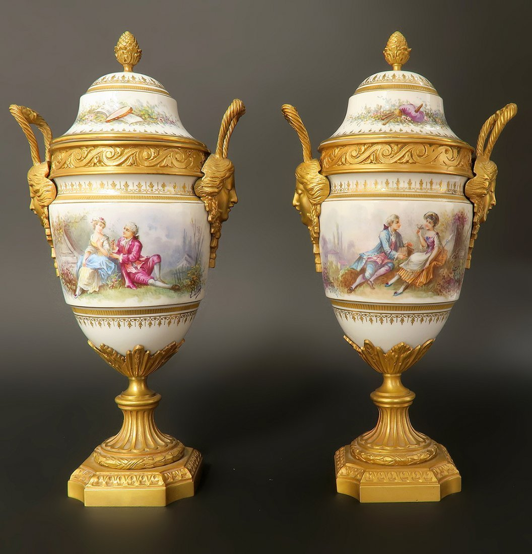Pair of French Bronze & Sevres Porcelain Urns. 19th Cen