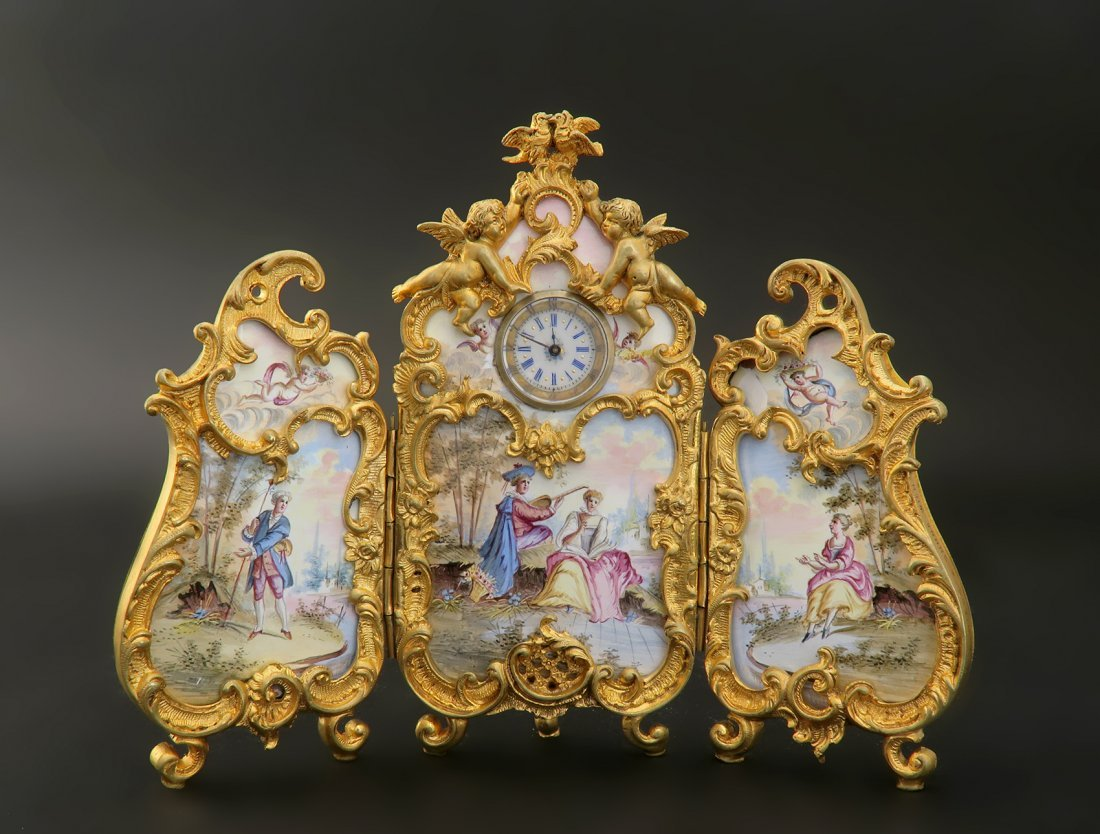 Large Viennese Enamel on Bronze Figural Clock