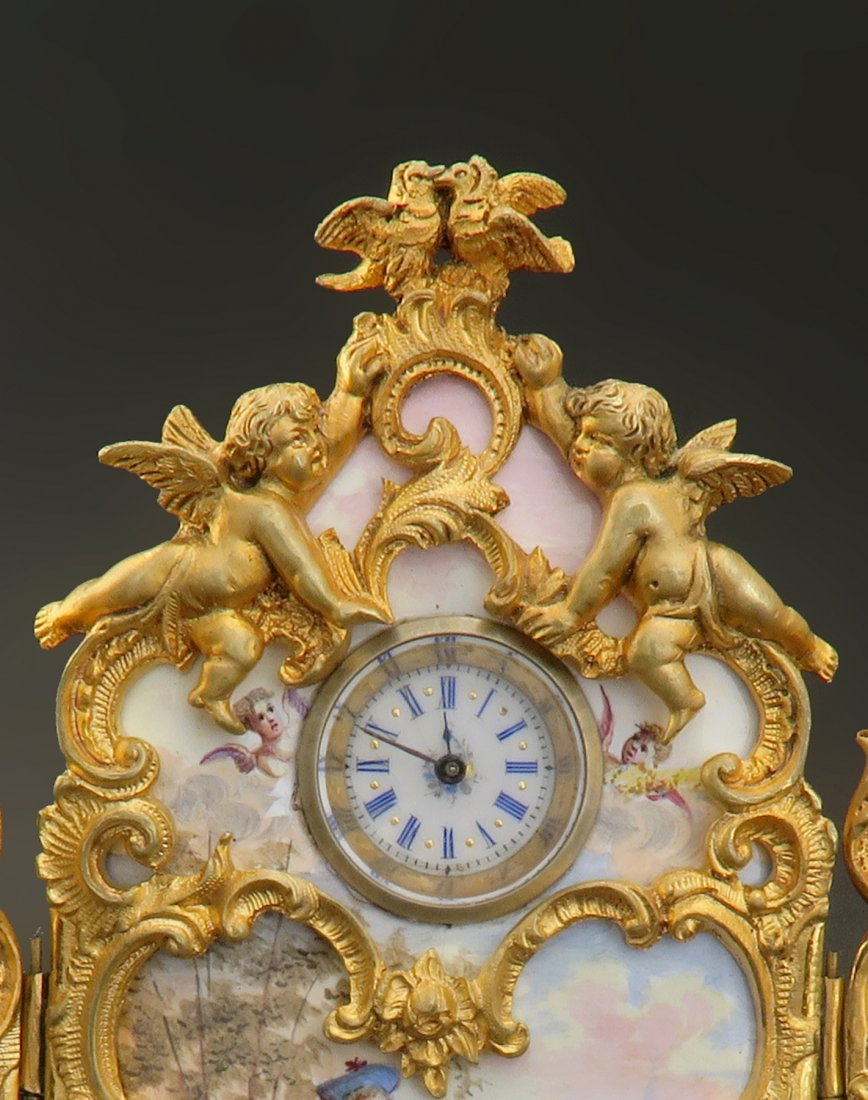 Large Viennese Enamel on Bronze Figural Clock - 2