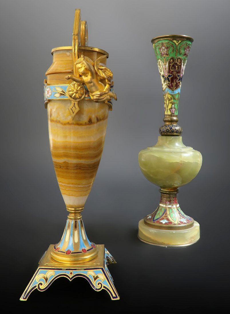 Lot of 2 Miniature French Champleve Enamel Vases.