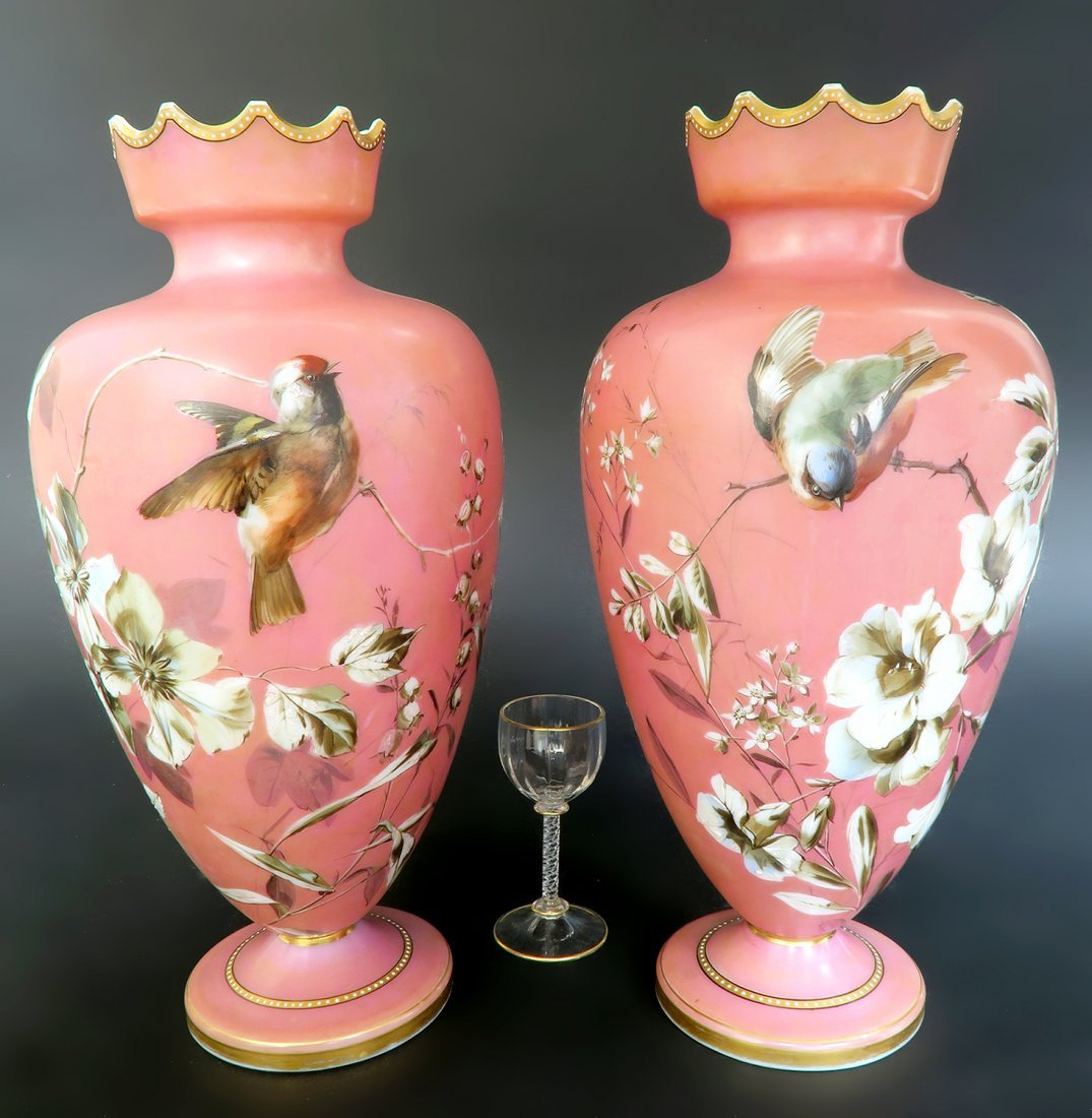 French Pair of Baccarat Opaline Vases. 19th Century
