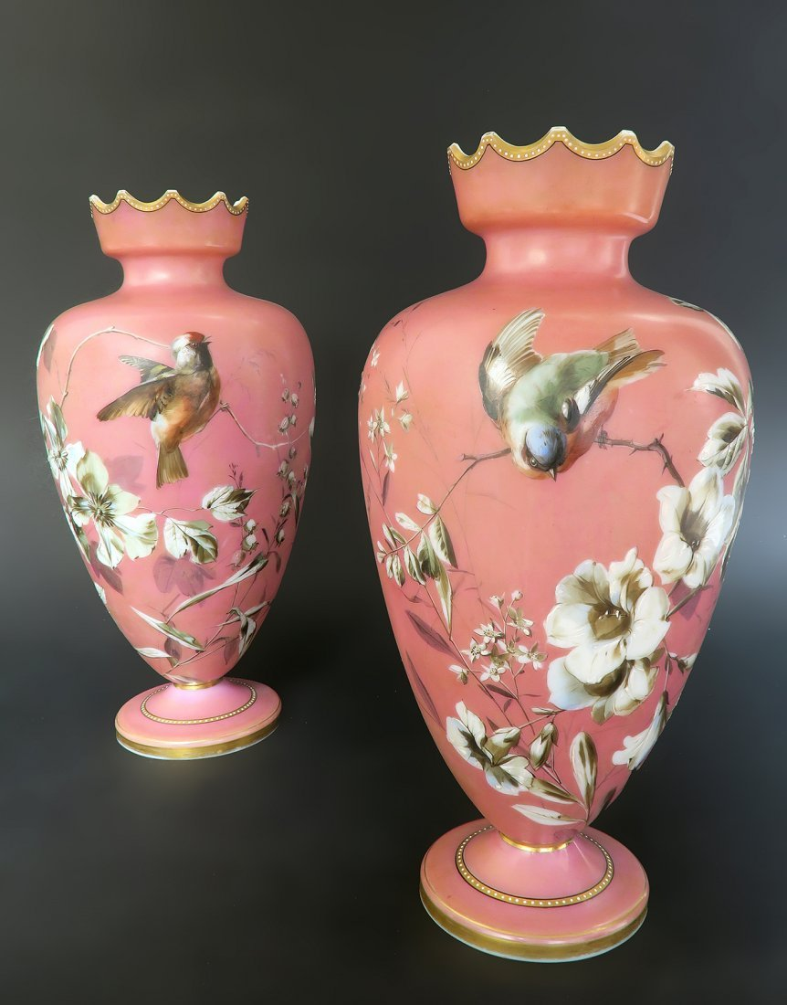 French Pair of Baccarat Opaline Vases. 19th Century - 3