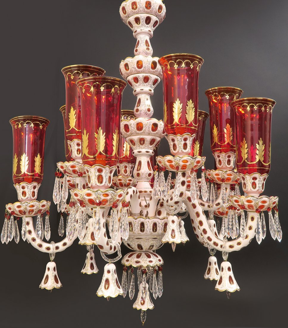 Large Bohemian 12 branch Crystal Chandelier with Shades