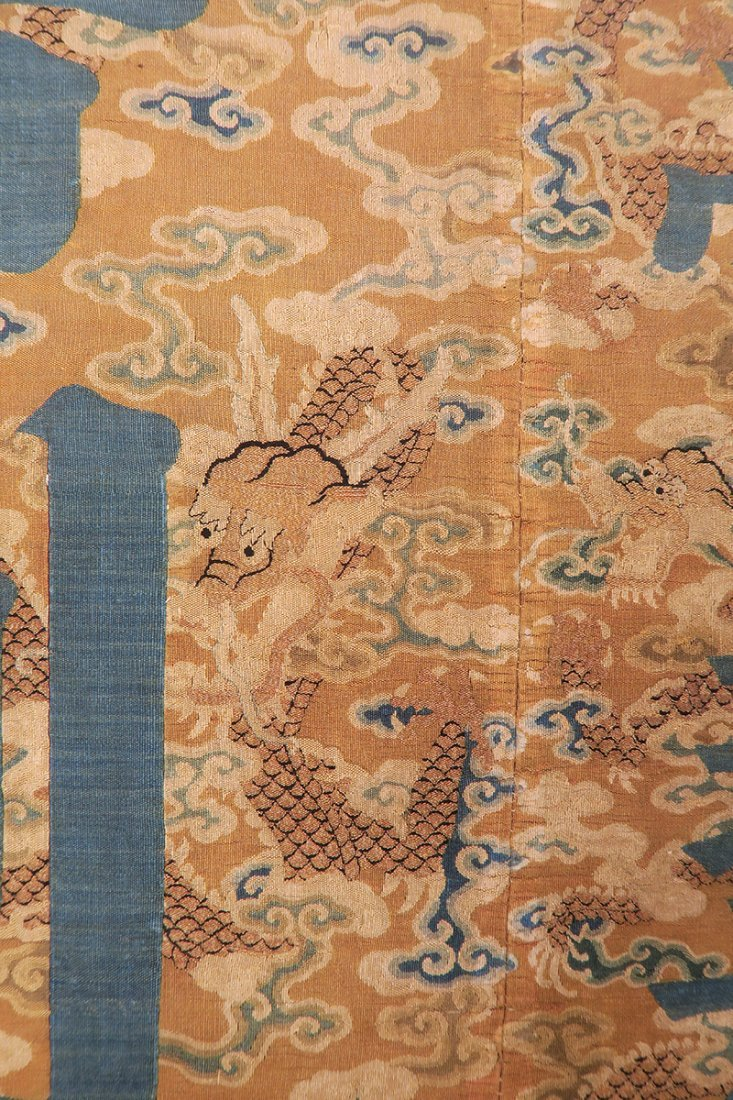 Chinese Silk Brocade Panel Qing Dynasty, 17th/18th Cent - 4
