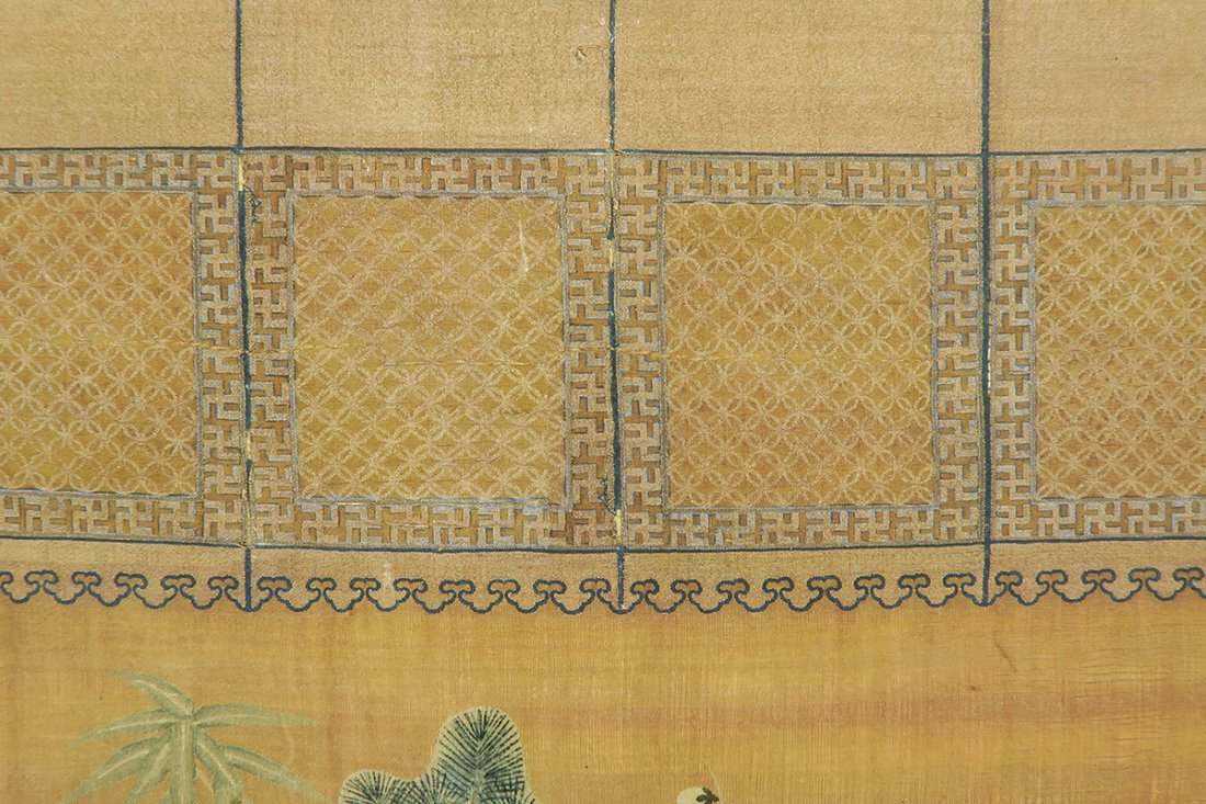 Chinese Silk Brocade Panel Qing Dynasty, 17th/18th Cent - 6
