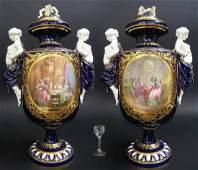 Pair of Monumental French Sevres Porcelain Figural Vase