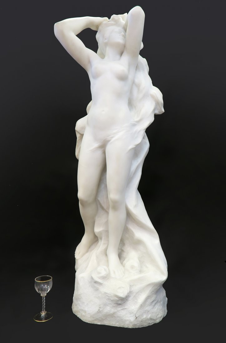 19th C. Marble Figure of A Maiden. The base indistincti