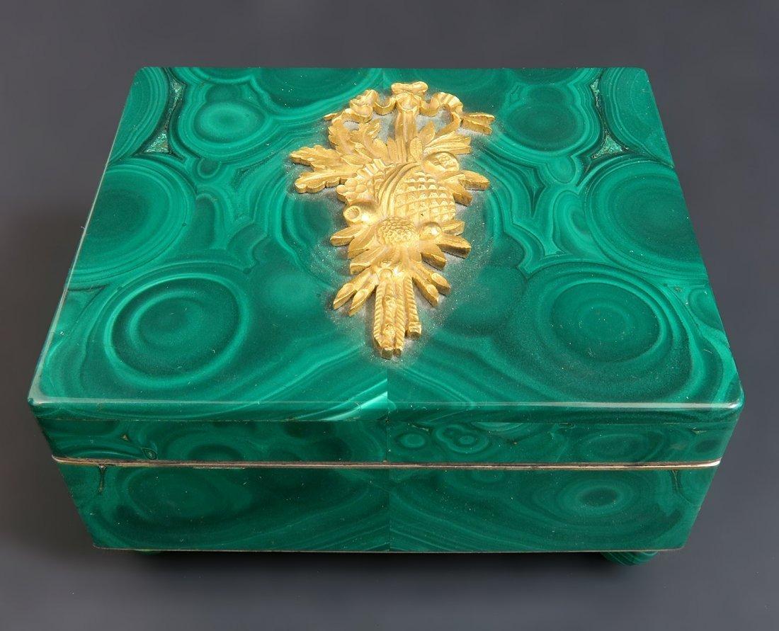 19th C. Bronze Mounted Russian Malachite Jewelry Box