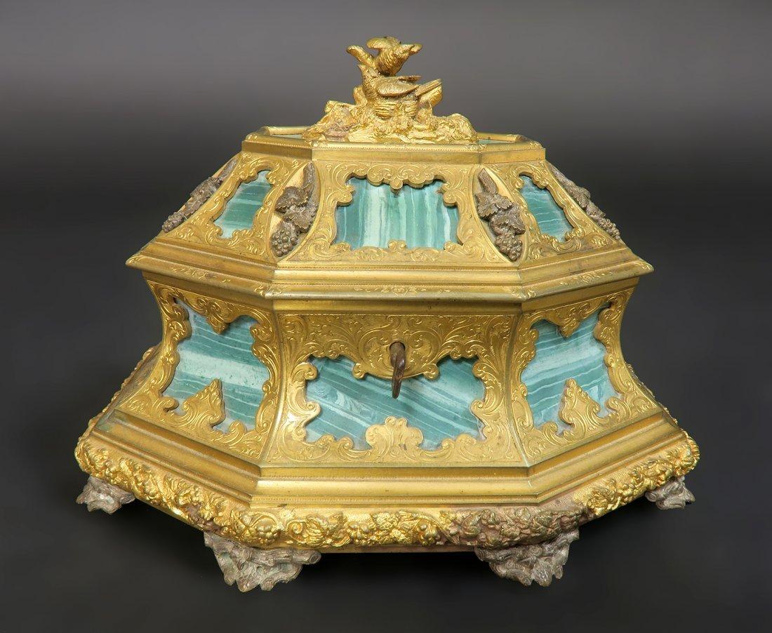 French Bronze & Russian Malachite Jewelry box by Tahan