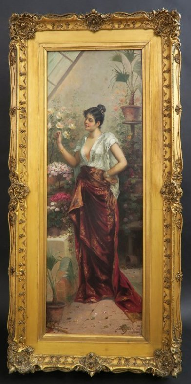 Fine Painting of a Beauty in the Garden J. Goblet