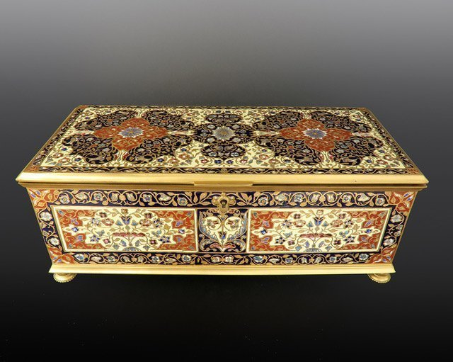 A19th.C Large Frnech Champleve Jewelry Box