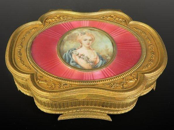19th C. Bronze & Enamel Hand Painted Jewelry Box