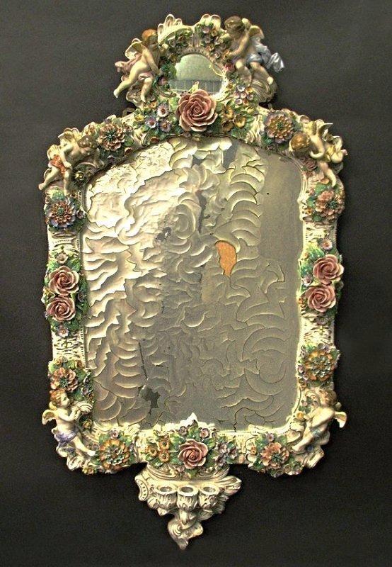 Magnificent 19th C. Meissen Style Floral Figural Mirror