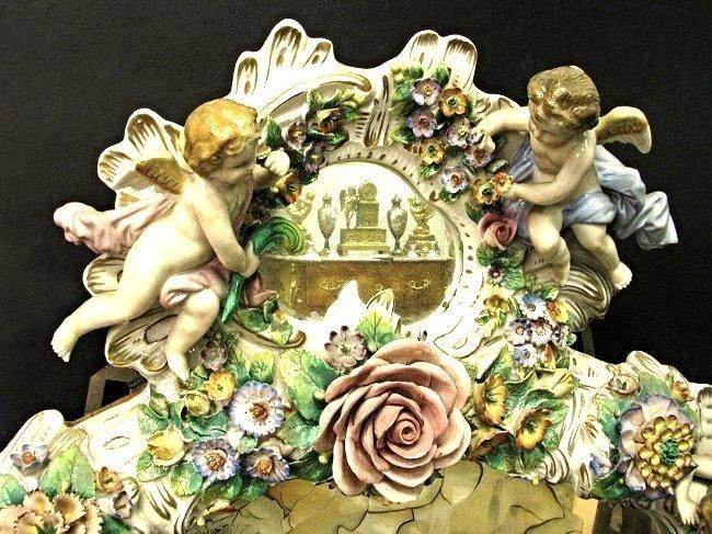 Magnificent 19th C. Meissen Style Floral Figural Mirror - 2
