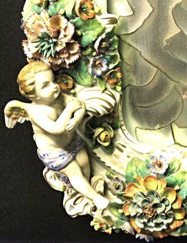 Magnificent 19th C. Meissen Style Floral Figural Mirror - 4
