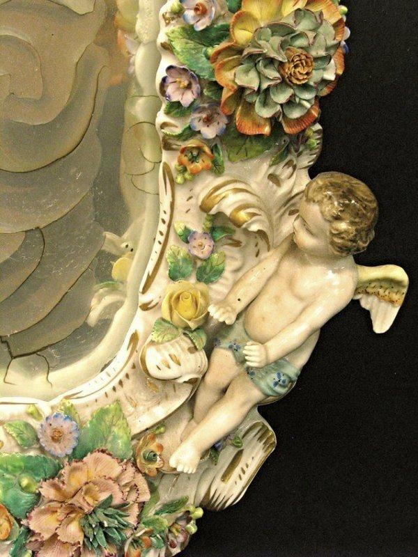 Magnificent 19th C. Meissen Style Floral Figural Mirror - 5