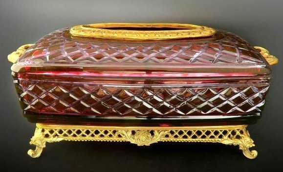 Large French Ruby Cut to Clear Tissue Valise