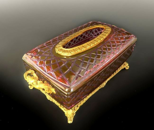Large French Ruby Cut to Clear Tissue Valise - 2