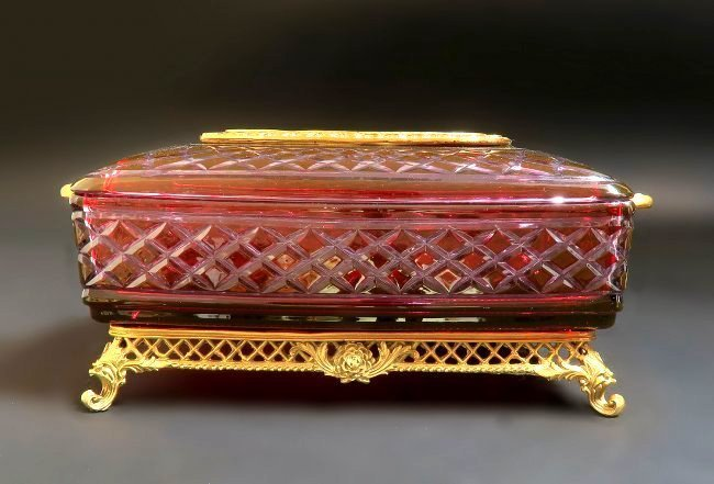 Large French Ruby Cut to Clear Tissue Valise - 3