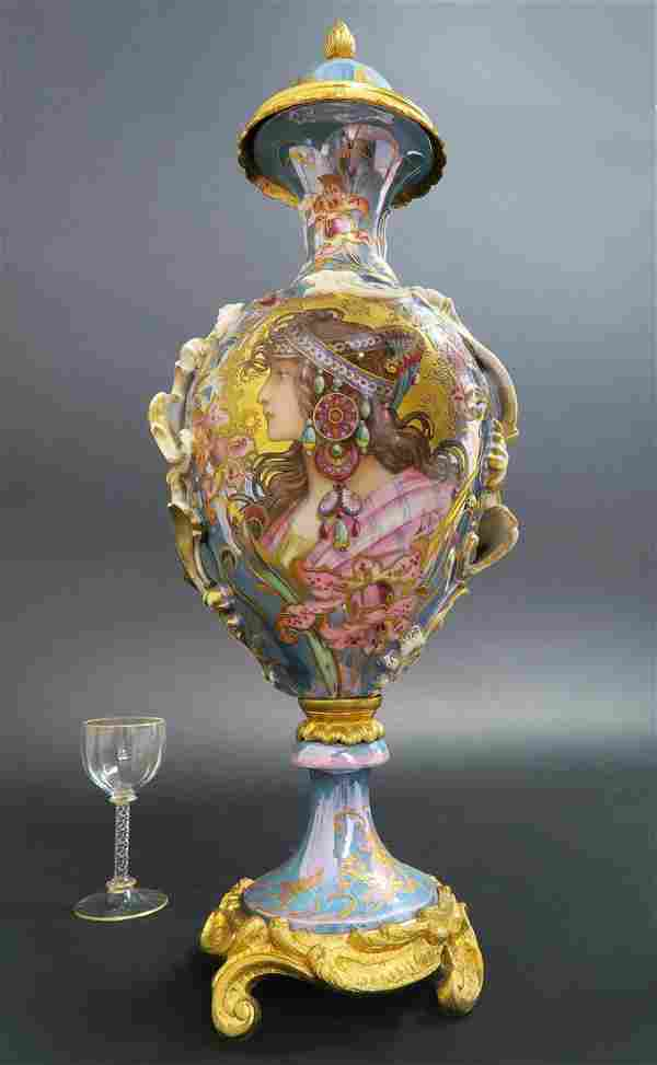 French Hand Painted Art Nouveau Sevres Urn