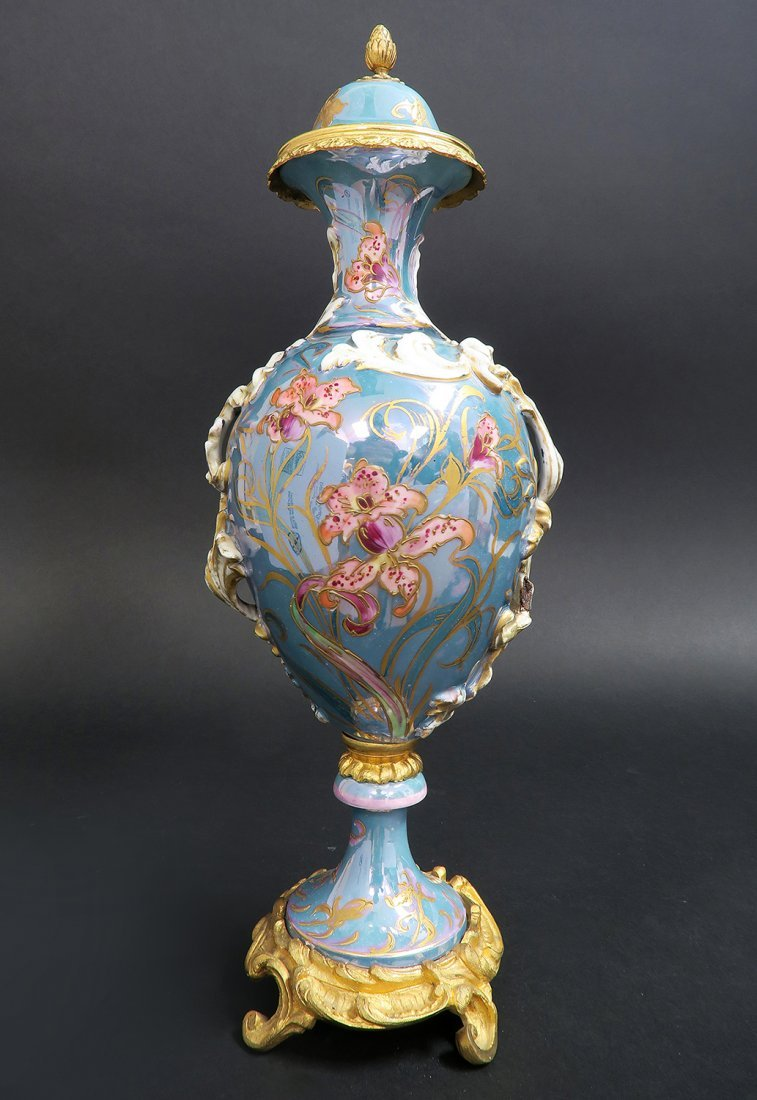 French Hand Painted Art Nouveau Sevres Urn - 3