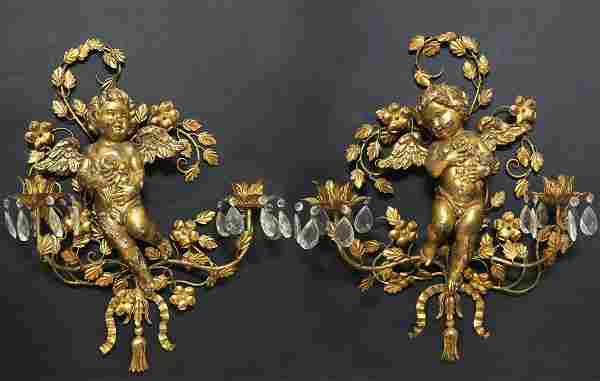 Pair of French Figural Bronze & Wood Scones