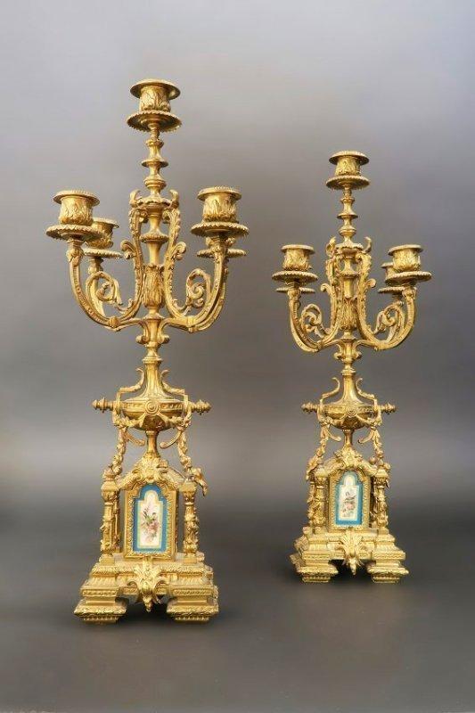 19th C. French Bronze & Sevres Porcelain Clock Set - 4