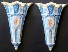 Pair of French Sevres Porcelain Wall Mount Vases