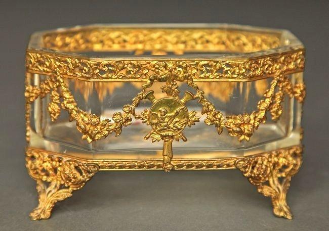 19th C. French Bronze & Baccarat Crystal Bonbonier