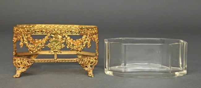 19th C. French Bronze & Baccarat Crystal Bonbonier - 4