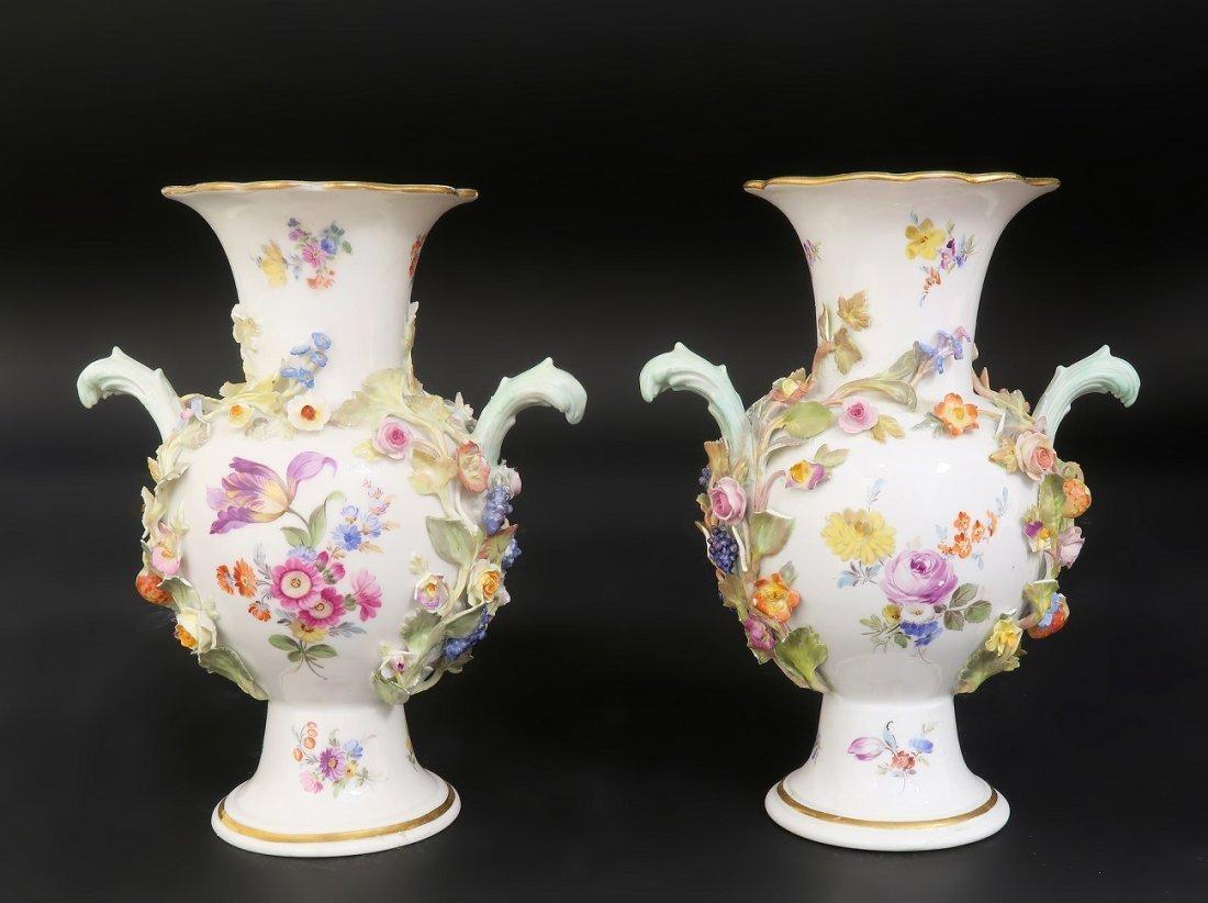 Pair of Meissen Flower encrusted Porcelain Vases