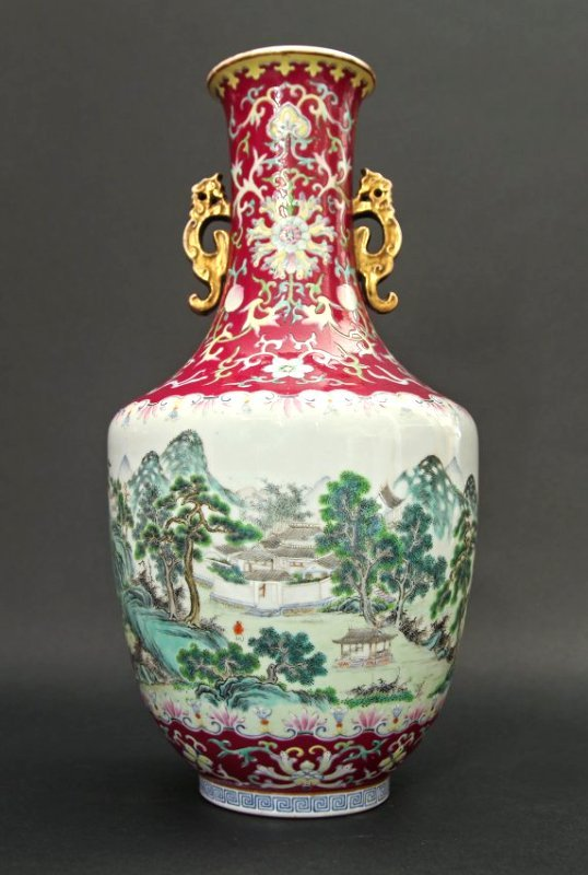 Ruby-Red Ground Famille Rose Vase 18th/19th C.