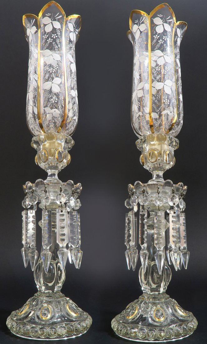 French Pair of Baccarat Crystal Candle Sticks