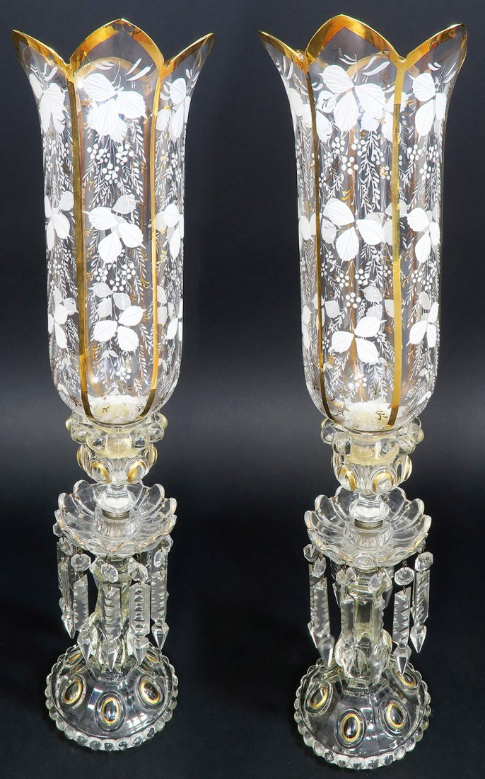 French Pair of Baccarat Crystal Candle Sticks - 2