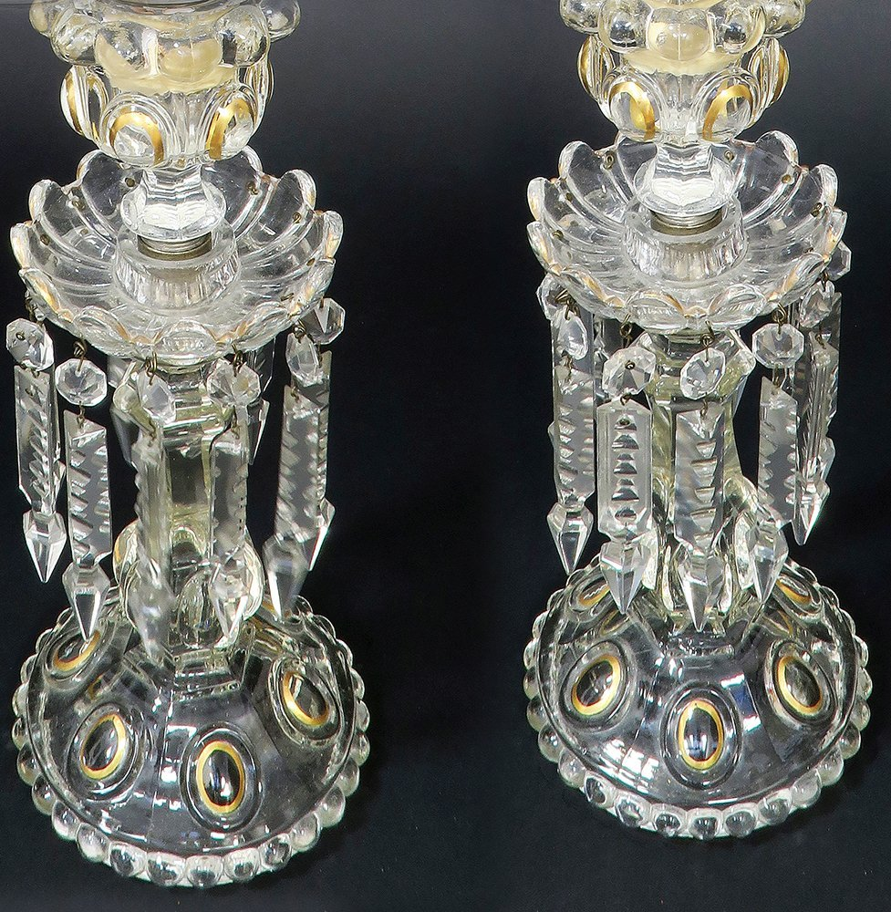 French Pair of Baccarat Crystal Candle Sticks - 3