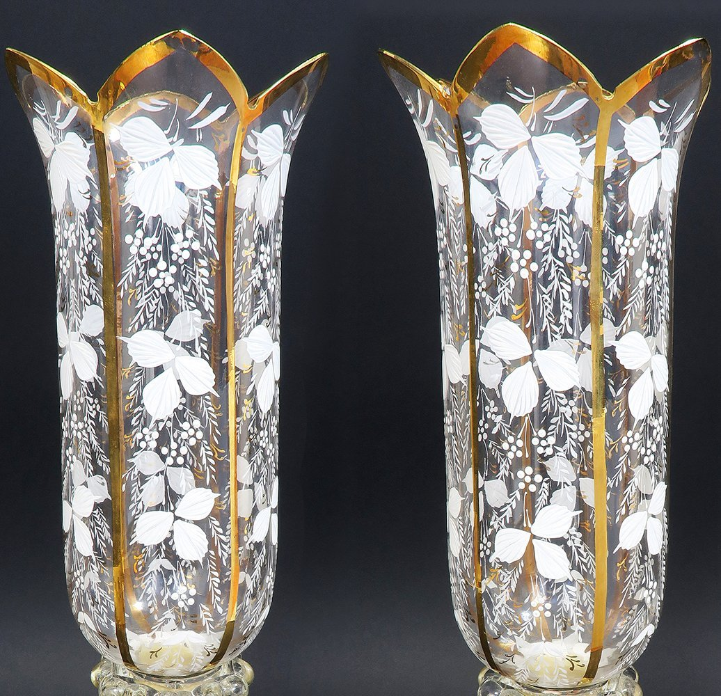 French Pair of Baccarat Crystal Candle Sticks - 4