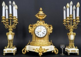 Fine French 19th C. Bronze & Marble Clock Set