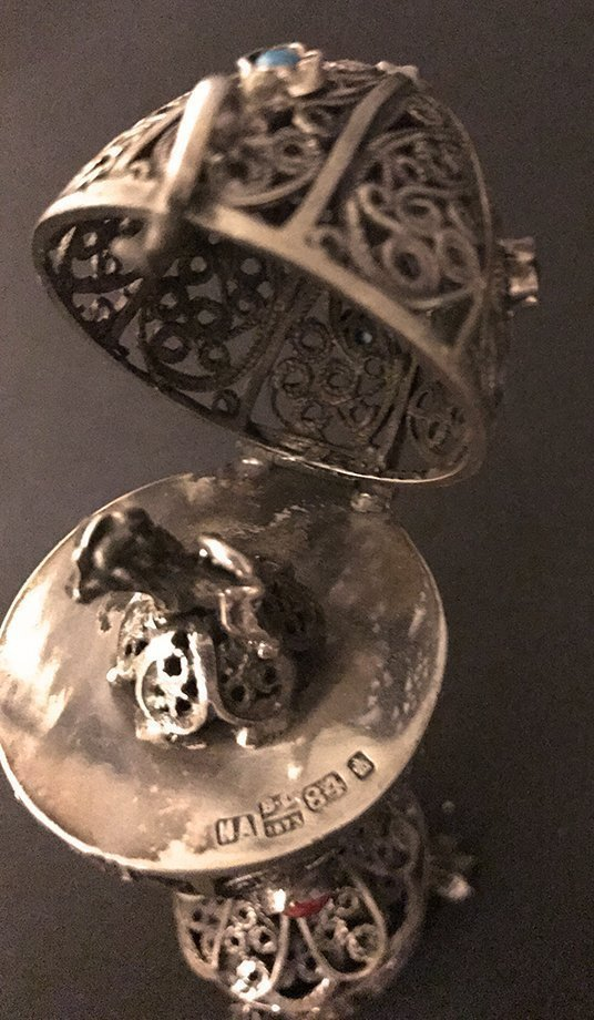 BC 1873 Solid Sterling 84 Russian Filigree Egg - 3