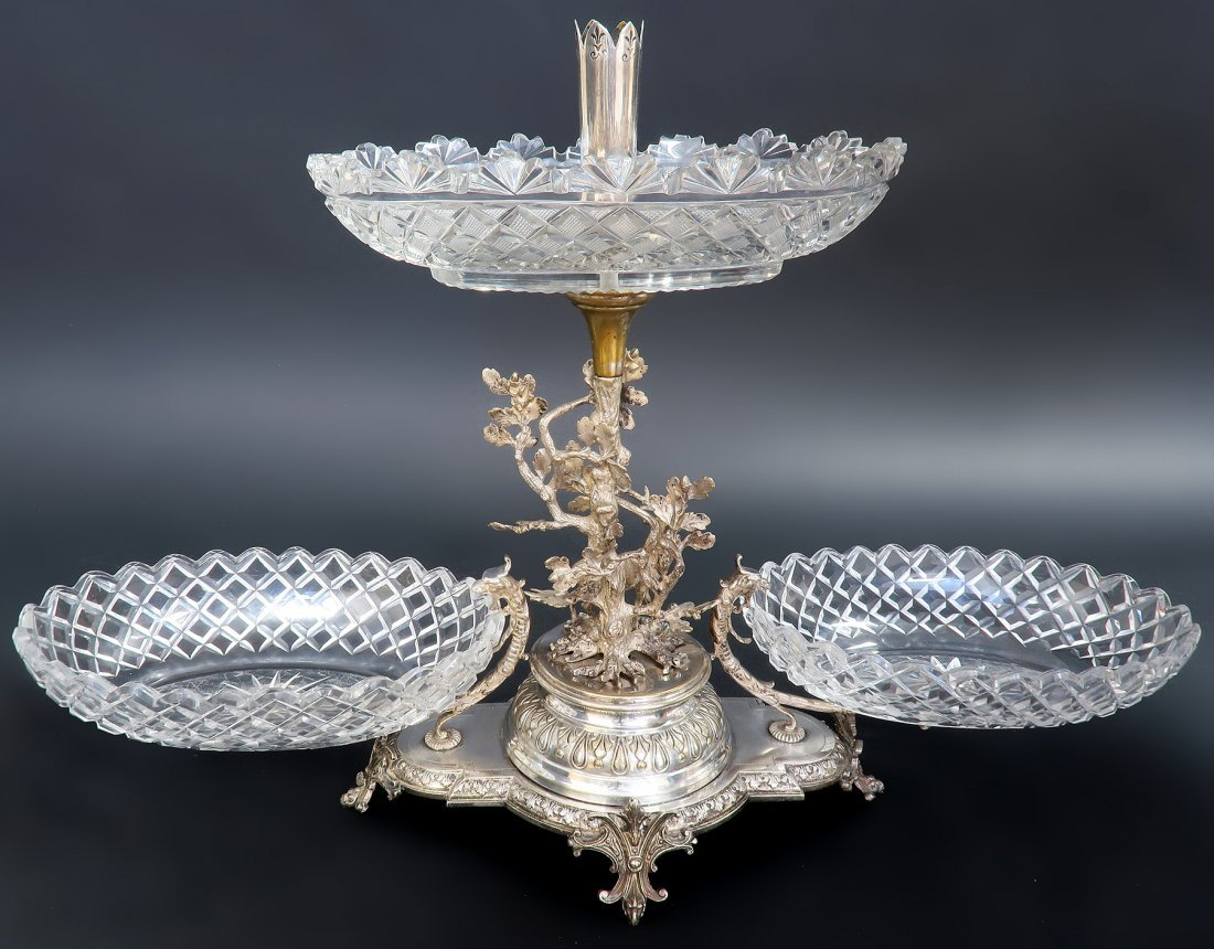 Silver-Plated figural Stag  &  3 crystals Centerpiece - 3