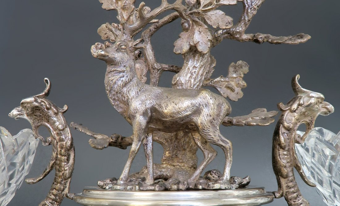 Silver-Plated figural Stag  &  3 crystals Centerpiece - 6