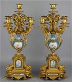 PAIR OF REGENCE STYLE GILT BRONZE AND PORCELAIN FIVE LI