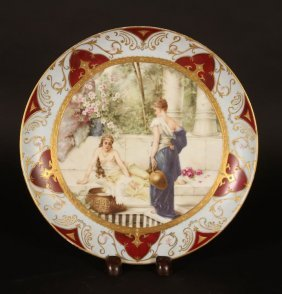 A HAND PAINTED FRENCH PORCELAIN CHARGER C.1920