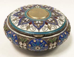 IMPERIAL RUSSIAN SILVER  and Cloisonné ENAMEL BOX