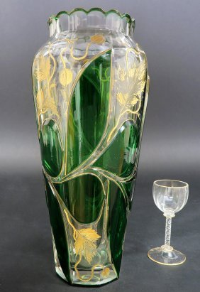 19th C. Cut Crystal Enameled Moser Vase