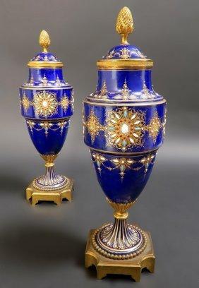 Pair of French Sevres Porcelain Jeweled Enameled Vases